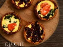 Quiche (Box of 4 Pieces) Salmon & Spinach / Beef & Mushroom